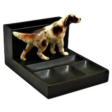 Vintage Mid-Century Desk Caddy with Springer Spaniel Dog Figurine
