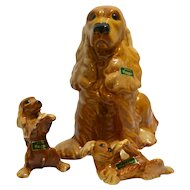 Vintage Retired Royal Haeger Cocker Spaniel Trio c.1940