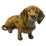 Large Hand Painted Dachshund Dog Figurine Made in Portugal