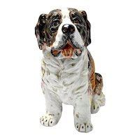 Large Hand-Painted Saint Bernard Dog Figurine - Italy