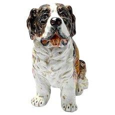 Large Hand-Painted Saint Bernard Dog Figurine - Italy