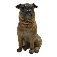 Antique Terracotta Pug Dog c. 1880-1900