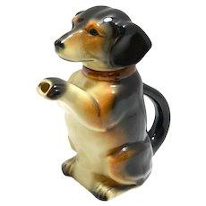 """Majolica """"Erphila"""" Dachshund Dog Teapot c.1938-1945"""