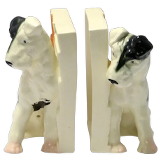 Vintage Ceramic Fox Terrier Bookends