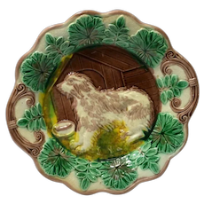 Majolica Plate with Dog and Doghouse
