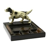 Vintage Mid-Century Desk Caddy with Springer Spaniel Dog Figurine