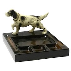 Vintage Mid-Century Desk Caddy with English Setter Dog Figurine