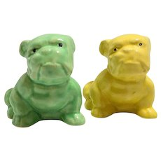 Morton Pottery Pair of Bulldog Planters