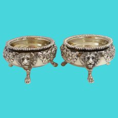 Antique English Sterling Silver Pair of Open Master Salts George II Lion's Head 1810