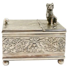 Victorian Silverplate Humidor with Pug Dog c. 1887
