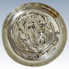Sterling Silver Repousse Mastiff Dog Head Dish Tray Sheffield,England c.1910