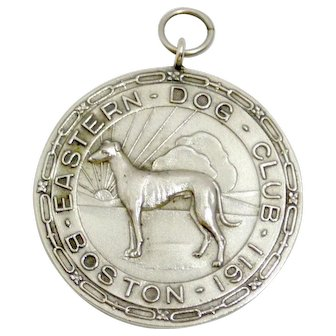 Vintage Sterling Silver Eastern Dog Club Puppy Show Awards Medal c.1921