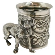 Antique James W. Tufts Silverplate Toothpick Holder with Sporting Dog c. 1880's