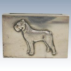 Antique Sterling Silver Matchbox Holder with Figural Schnauzer Dog c.1902 - 1940