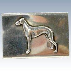 Antique Sterling Silver Matchbox Holder with Figural Doberman Pinscher Dog c.1902 - 1940
