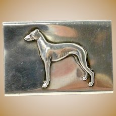 Antique Sterling Silver Matchbox Holder with Figural Doberman Pinscher Dog c.1902 - 1940
