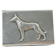 Antique Sterling Silver Matchbox Holder with Figural German Shepherd Dog c.1902 - 1940