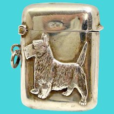 Antique Sterling Silver Scottie Dog Vesta Match Safe c.1919