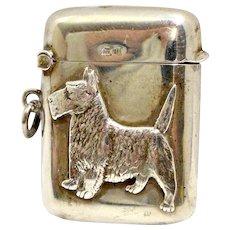 Antique Sterling Silver Scottie Dog Vesta Match Safe early 1900's