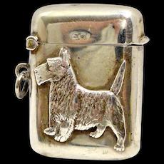 Antique Sterling Silver Scottie Dog Vesta Match Safe c.1919