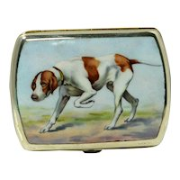 Vintage German Silverplate and Enamel Sporting Dog Cigarette Case. c. 1920
