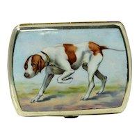 Vintage German Silverplate and Enamel Sporting Dog Cigarette Case. c. 1920