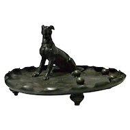 Antique Silverplate Tray with Greyhound Dog c. 1910
