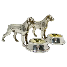 Silver Plate Boxer Dog Salt Cellars