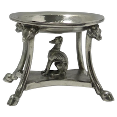 Silverplate Pedestal Tray with Greyhound/Whippet dog c.1850