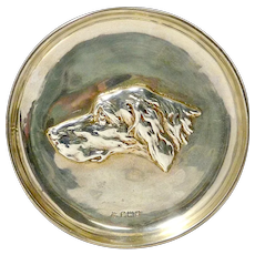 Sterling Silver Sporting Dog Portrait Dish c.1910