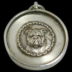 Antique Bulldog Sterling Silver Fob Pendant c.1925