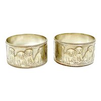 Matched Pair Silverplate Pug Dog Napkin Rings