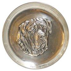 Sterling Silver Mastiff Dog Tray Sheffield,England c.1910