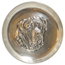 Sterling Silver Mastiff Dog Tray Sheffield,England c.1910
