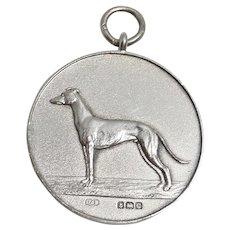 Art Deco Sterling Silver Greyhound Dog Watch Fob/Pendant c.1927