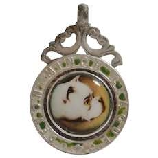 Vintage Sterling and Enamel Bulldog Dog Watch Fob/Pendant/Medal c.1927-28