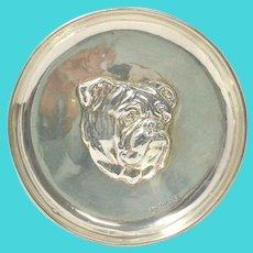 Sterling Silver Bulldog Portrait Dish, Antique Trinket Dish c.1910