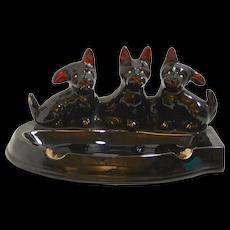 Ceramic Ashtray with Three Scottish Terrier Dogs c.1980