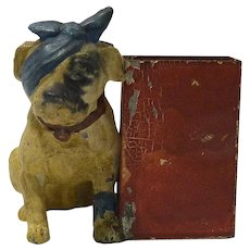 Antique Matchbox Holder with Bulldog c. early 1900's