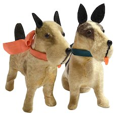 Vintage Flocked Mohair Terrier Dogs