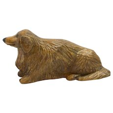 Folk Art Wood Carved Long-Haired Dachshund Dog
