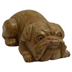 Vintage Folk Art Wood Carved Bulldog