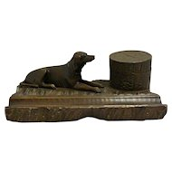 Antique Black Forest Wood Inkwell with Hound Dog c.1910