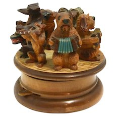 Anri Carved Dog Figural Rotating Music Box