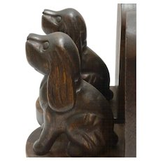 Vintage Wood Carved Folk Art Spaniel Dog Bookends