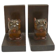 Hand-Carved Wood Bonzo Bookends c.1960's