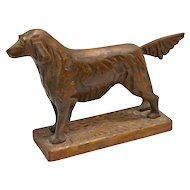 Vintage Folk Art Hand Carved Wooden Retriever Dog