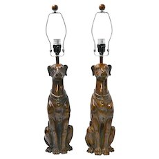 Whippet Dog Pair Wood Table Lamps