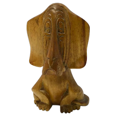 Vintage Folk Art Wood Carved Bassett Hound Dog