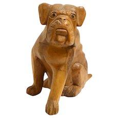 Vintage Folk Art Solid Wood Dog